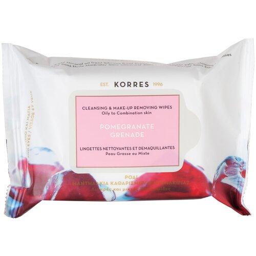KORRES салфетки очищающие для снятия макияжа для жирной и комбинированной кожи с гранатом
