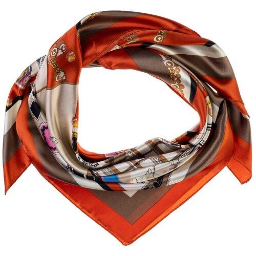 Шелковый платок на шею/Платок шелковый на голову/женский/Шейный шелковый платок/стильный/модный /21kdg9095496-3vr оранжевый,белый/Vittorio Richi/80% шелк,20% полиэстер/90x90