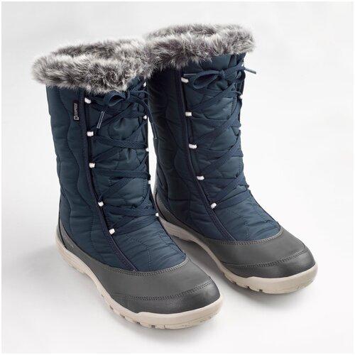 Сапоги зимние утепленные непромокаемые высокие SH500 Х–WARM на шнурках женские, размер: 36, цвет: Темно-Синий QUECHUA Х Декатлон