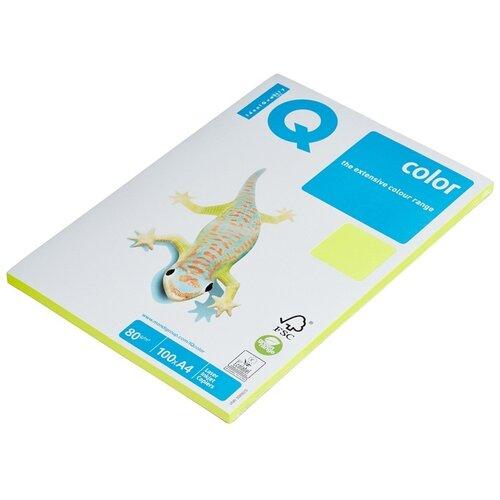 Бумага цветная IQ А4, 80 г, желтый неон, пачка 100 листов (NEOGB)