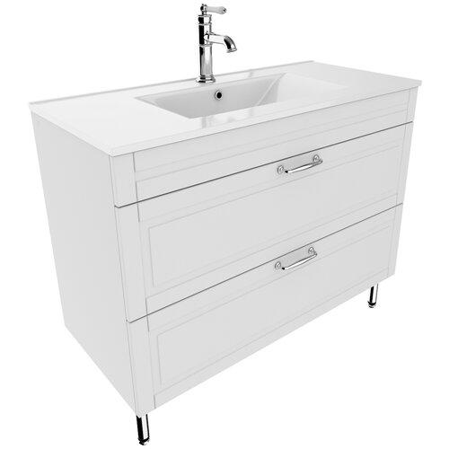 Тумба для ванной комнаты с раковиной IDDIS Oxford 100, ШхГхВ: 100х45.5х81 см, цвет: белый тумба для ванной комнаты с раковиной iddis cloud шхгхв 100 3х45 5х50 см цвет белый