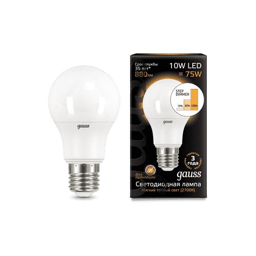 Фото - Лампа светодиодная Gauss LED A60 10W E27 2700K step dimmable 102502110-S (упаковка 10 шт) лампа светодиодная gauss 102502210 s led a60 10w e27 4100k step dimmable 1 10 50
