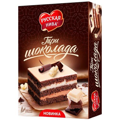 три шоколада Торт Русская нива Три шоколада, 400 г, 3 шт.
