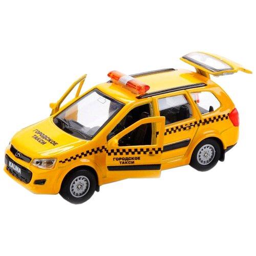 Фото - Легковой автомобиль ТЕХНОПАРК Lada Kalina Cross Такси (SB-16-46-T-WB), 12 см, желтый автобус технопарк рейсовый sb 16 88 blc 7 5 см желтый