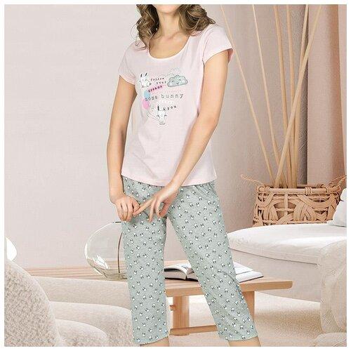 комплект домашний женский vienetta s secret цвет розовый 711026 5167 размер 3xl 54 Домашний костюм для женщин (капри) 25828 OZKAN, Размер: S, Цвет: Розовый, 1 шт. в упаковке