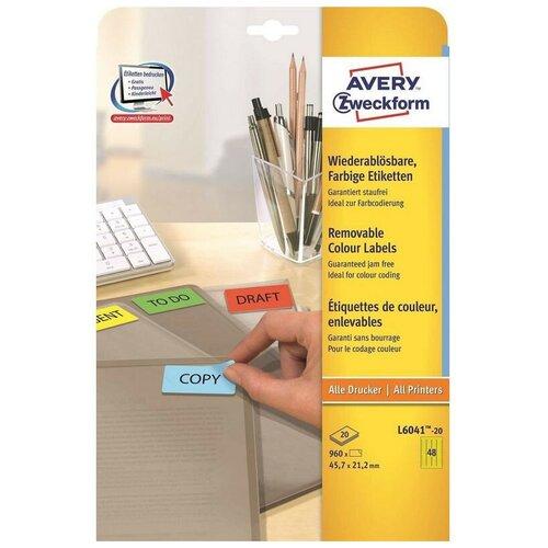 Этикетки самоклеящиеся Мини-этикетки L6041-20 желтые 45.7х21.2 мм 960шт/уп