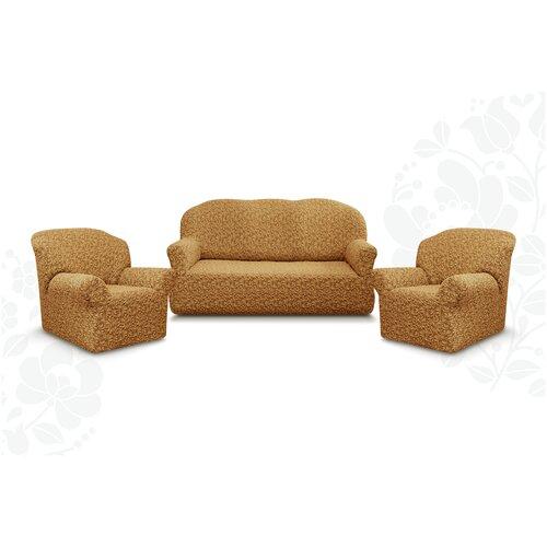 Чехлы без оборки Евро Престиж дизайн 10034 на Диван+2 Кресла, кофе с молоком