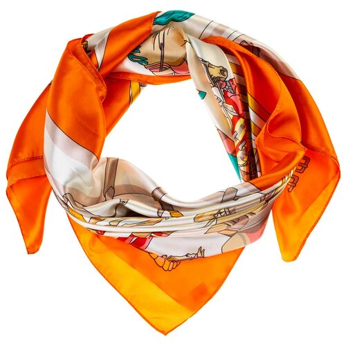 Шелковый платок на шею/Платок шелковый на голову/женский/Шейный шелковый платок/стильный/модный /21kdg9095495-4vr белый, оранжевый/Vittorio Richi/80% шелк,20% полиэстер/90x90