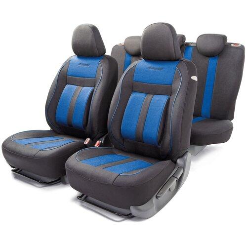 Авточехлы универсальные AUTOPROFI CUS-1505 BK/BL CUSHION COMFORT,эко-хлопок, 5 мм поролон, 3D крой, поясничный упор, 15 пред., чёрный/синий