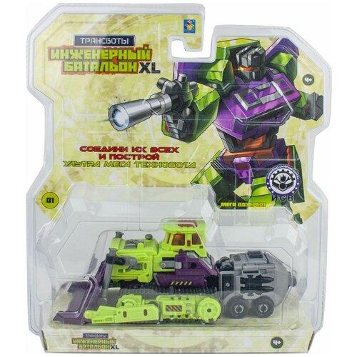 Трансформер 1 TOY Трансботы Инженерный батальон XL: Мега Дозербот Т16431, зеленый/фиолетовый роботы 1 toy робот трансботы инженерный батальон xl мега кранер