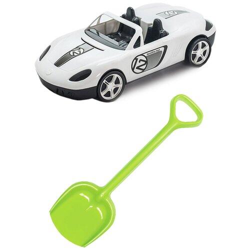 Купить Детский игровой набор для песочницы: Детский автомобиль Кабриолет + Лопатка 50 см. салатовая, КАРОЛИНА ТОЙЗ, Karolina toys, Наборы в песочницу