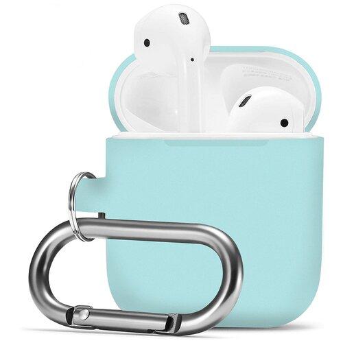 Чехол для наушников Apple AirPods 2 с карабином / Чехол на кейс Эпл ЭирПодс 2 с поддержкой беспроводной зарядки / Силиконовый чехол для беспроводных блютуз наушников (Sky Blue)