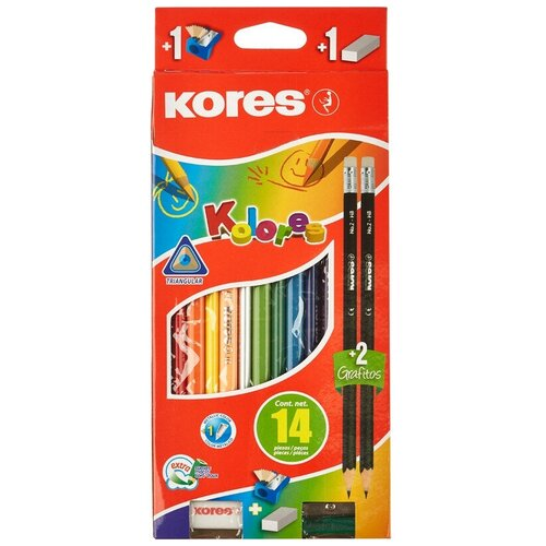 Купить Карандаши цветные 12цв 3-гран Kores промо набор 93314.01, Цветные карандаши