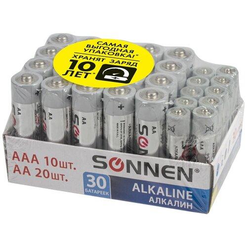 Батарейки КОМПЛЕКТ 30 (20+10) шт., SONNEN Alkaline, AA+ААА (LR6+LR03), в коробке, 455097