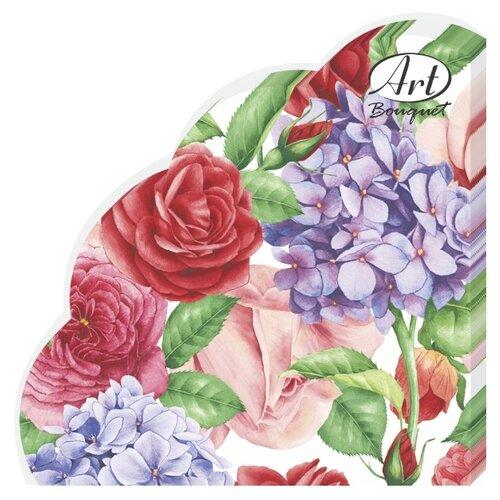"""Купить Салфетки бумажные РОНДО Art Bouquet """"Прекрасные цветы"""" 1 упаковка по 12 штук, диаметр 32 сантиметра, 3-х слойные."""