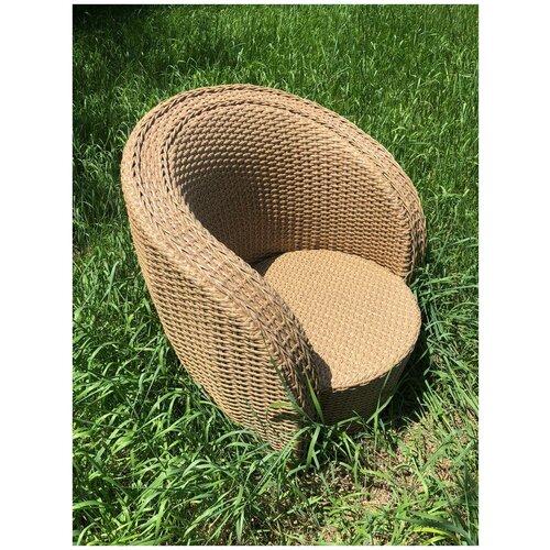Кресло Лукошко, плетеное из искусственного ротанга индийское дерево