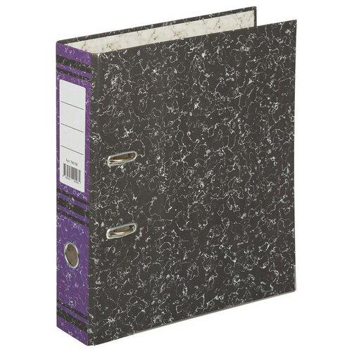 Папка-регистратор 75 мм (+/- 5 мм) мрамор, с металлическим уголком, фиолетовый корешок регистратор inформат а4 5 5 см фиолетовый