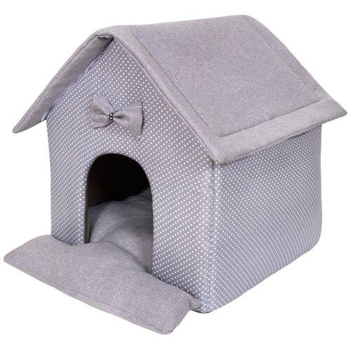Фото - Домик для собак и кошек HutPets LittleHouse 45х40х45 см Gray Peas лежак для собак и кошек hutpets minicot s 50х45 см coffee stars