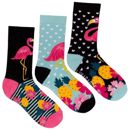 Комплект женских носков с принтом lunarable Фламинго, черные, светло-голубые, розовая фуксия
