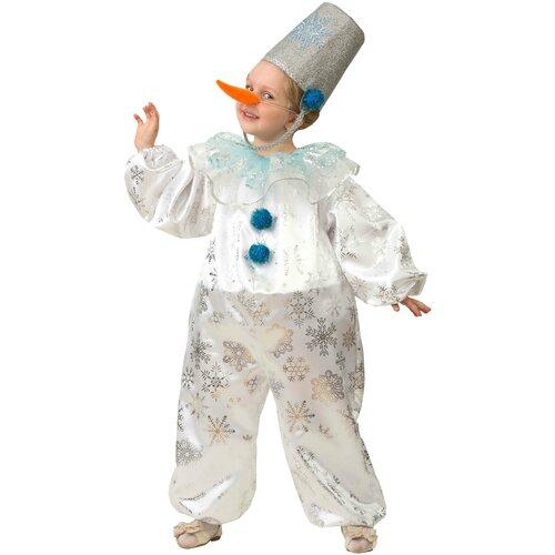 Купить Костюм Батик Jeanees Снеговичок Снежок (5223), белый/голубой, размер 134, Карнавальные костюмы
