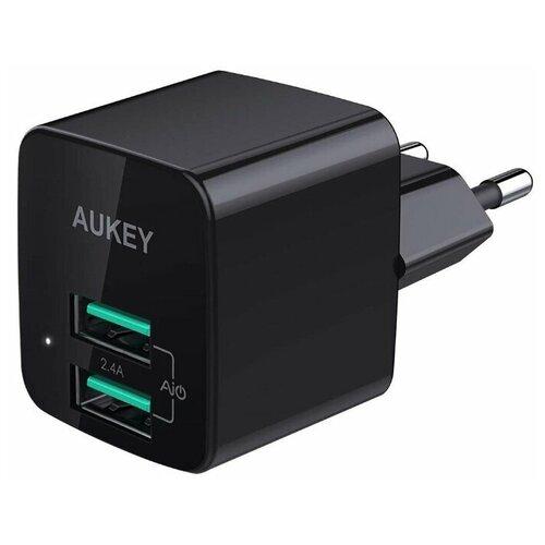 Фото - Сетевое зарядное устройство Aukey Travel Charger Dual Port USB-A PA-U32 (Black) сетевое зарядное устройство aukey travel charger pa u32 12w 2xusb a черное