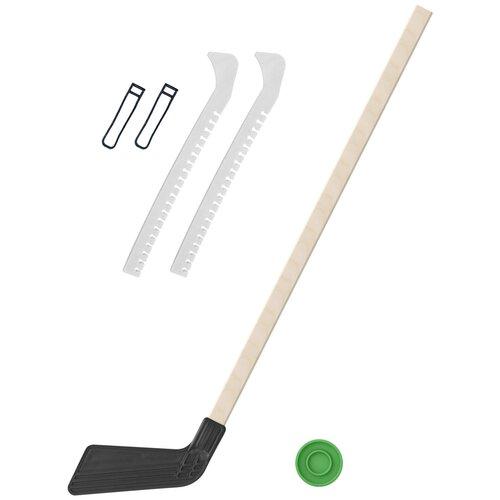 Набор зимний: Клюшка хоккейная чёрная 80 см.+шайба + Чехлы для коньков белые, Задира-плюс