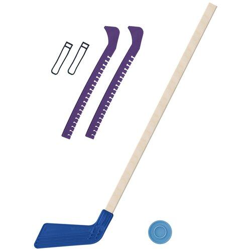 Набор зимний: Клюшка хоккейная синяя 80 см.+шайба + Чехлы для коньков фиолетовые, Задира-плюс