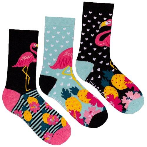 Носки Lunarable kcrp028, 3 пары, размер 35-39, черный/голубой/розовый