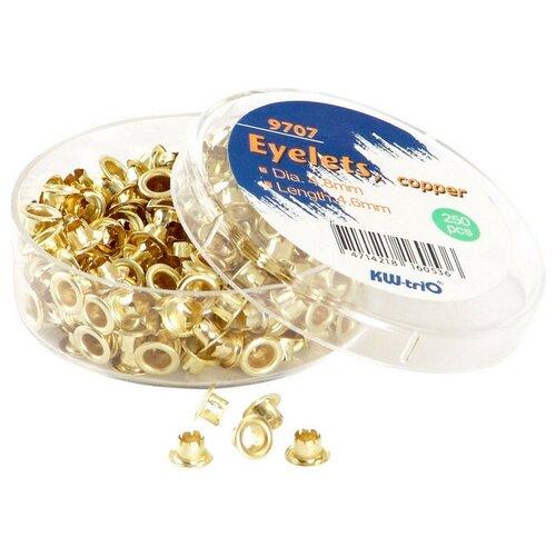 Люверсы для дырокола, 250 шт./уп Kw-Trio, диаметр= 4,8, золотистые