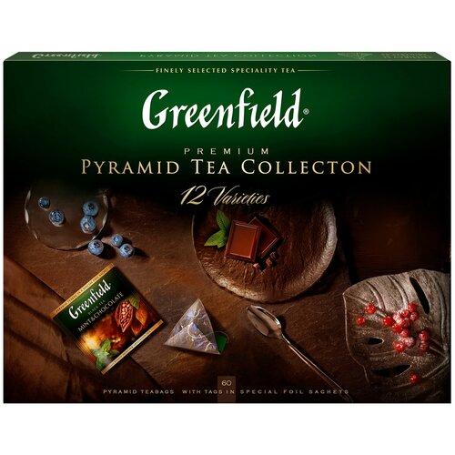 Чай Greenfield Pyramid Tea Collection 12 varieties ассорти в пирамидках подарочный набор, 60 шт. чай richard royal advent calendar ассорти в пирамидках подарочный набор 25 шт