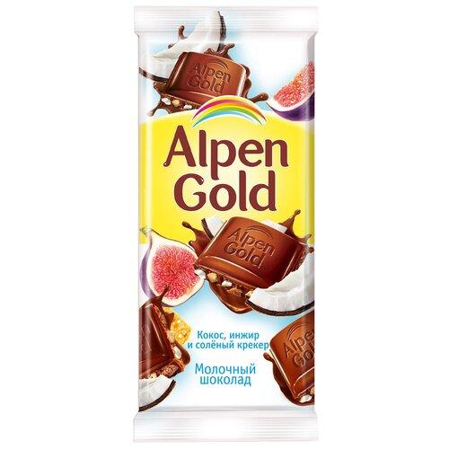 alpen gold шоколад молочный с соленым арахисом и крекером 5 шт по 85 г Шоколад Alpen Gold молочный с инжиром, кокосом и соленым крекером, 85 г