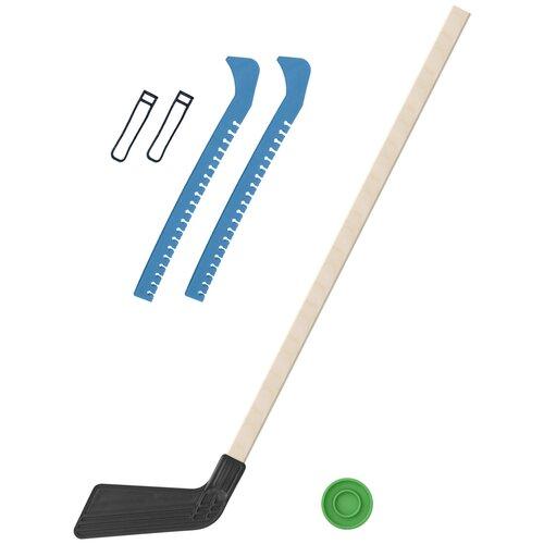 Набор зимний: Клюшка хоккейная чёрная 80 см.+шайба + Чехлы для коньков голубые, Задира-плюс
