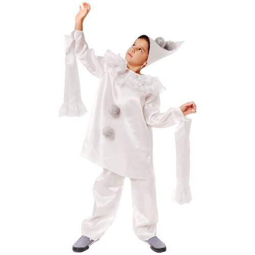 Купить Костюм пуговка Пьеро (2115 к-21), белый, размер 116, Карнавальные костюмы