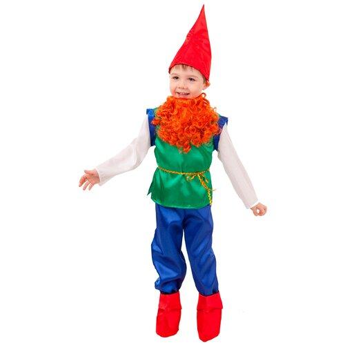 Купить Костюм пуговка Гном (2043 к-18), синий/красный, размер 140, Карнавальные костюмы