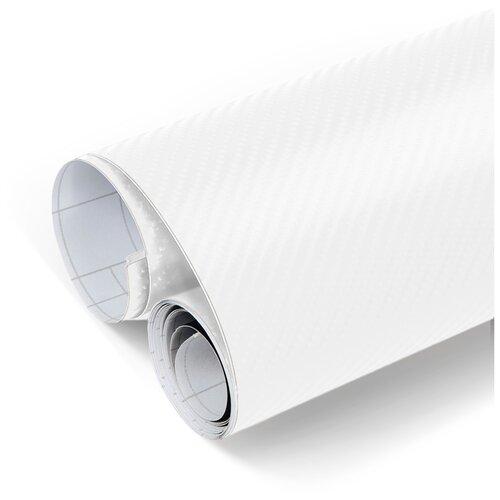 Пленка 3D карбон виниловая для оклейки кузова авто - 200*152 см, цвет: белый