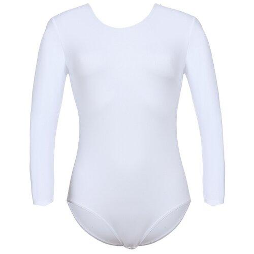 Купить Купальник гимнастический для девочек, ALIERA, Г 2.01, размер 110-116, белый, Купальники и плавки