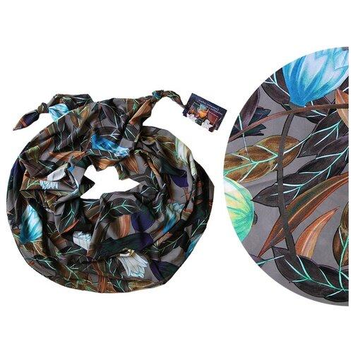 Двойной шарф-долька Оланж Ассорти серия Апрель с узелками серый dolka-шелк-z-201