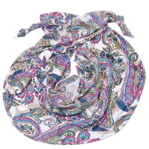 Шарф женский весенний, вискоза, шёлк, полиэстер, разноцветный, двойной шарф-долька Оланж Ассорти с узелками серия Хорошие гены