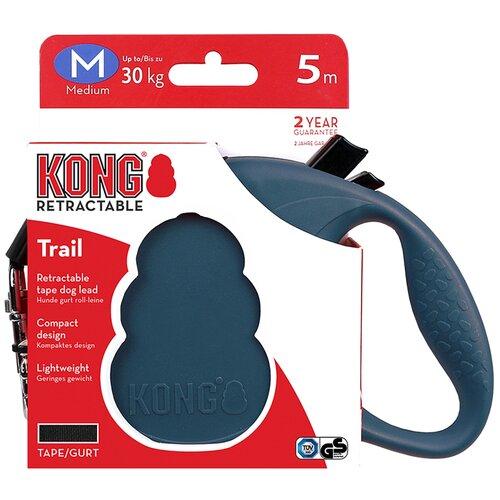 Поводок-рулетка для собак KONG Trail M синий 5 м 12 мм рулетка для собак kong reflect m до 30 кг 5 м серый