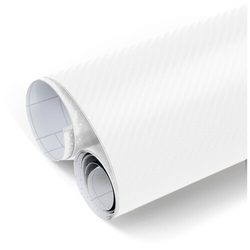 Пленка 3D карбон виниловая для оклейки кузова авто - 1500*152 см, цвет: белый