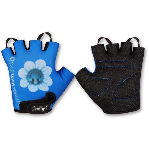 Перчатки вело детские INDIGO Ромашка SB-01-8887 Голубо-белый 2XS