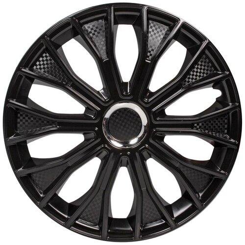 Колпаки колесные 14 Волтек , черный глянец, хром кольцо, компл. 2 шт. AWCC-14-30