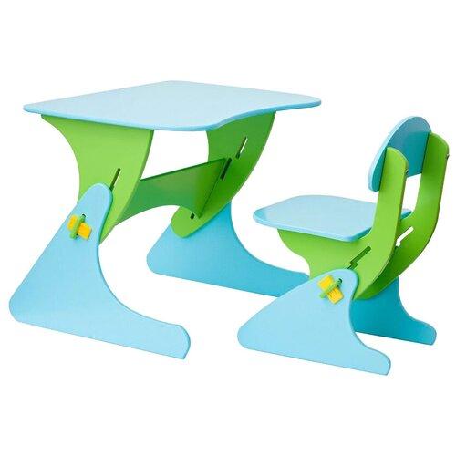 Комплект Столики детям столик + стул Буслик 67x50 см салатовый/голубой
