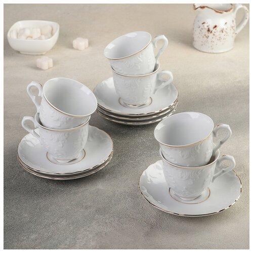 Кофейный сервиз на 6 персон: чашка 100 мл, блюдце d-12,5 см Rococo золото 1562959 сковорода d 24 см kukmara кофейный мрамор смки240а
