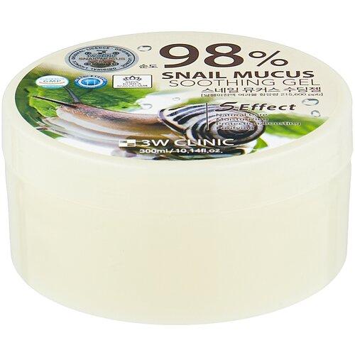 Гель для тела 3W Clinic многофункциональный со 98% экстрактом слизи улитки Snail Soothing Gel, 300 мл гель для тела farmstay многофункциональный смягчающий с муцином улитки moisture soothing gel snail 300 мл