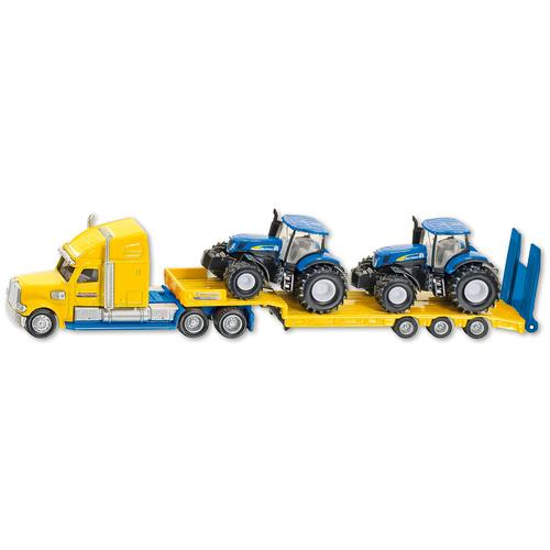 Фото - Набор техники Siku Тягач New Holland с 2 тракторами (1805) 1:87, 22.3 см, желтый/синий набор машин siku тягач с яхтой 1849 1 87 27 см красный белый