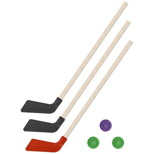 Детский хоккейный набор зима,лето 3 в 1/ Клюшки хоккейных 80 см (2 черных, 1 красная) + 3 шайбы, Задира-плюс
