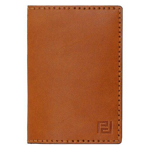 Обложка для паспорта ручной работы Protege, из натуральной кожи, цвет рыжий