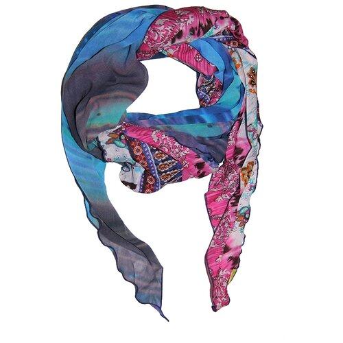 Шарф женский весенний, вискоза, шёлк, разноцветный, шарф-ромбы Оланж Ассорти(комбинированный из двух ромбов)