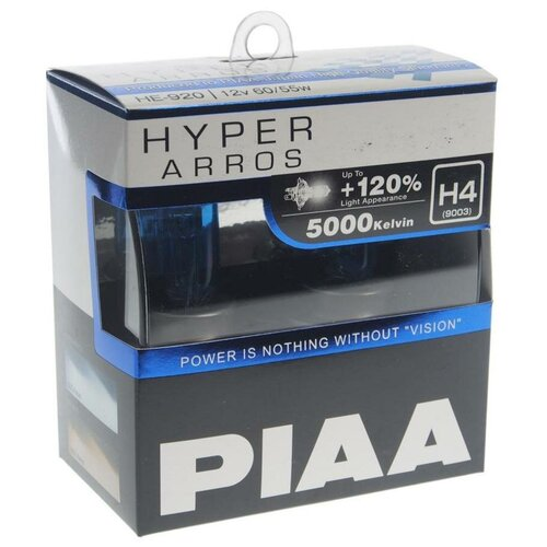 Лампа автомобильная галогенная PIAA Hyper Arros (HE-920-H4) H4 12V 60/55W 2 шт.